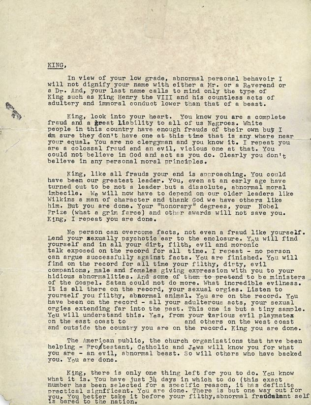 Letter from FBI to Dr. Martin Luther King, Jr.