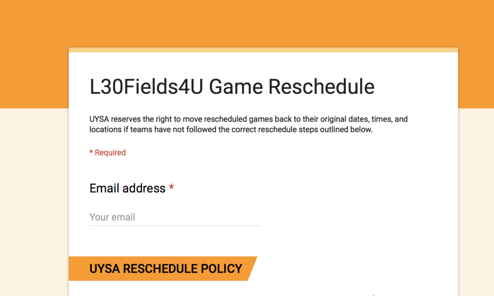 Game Reschedule Form