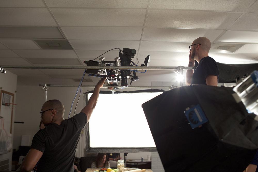 Overhead camera shot