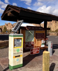 turnaround solar fee station at Smith Rock State Park
