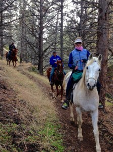 Kristen Grace on SC Zephyr on a horseback ride on Canyon Trail at Smith Rock State Park