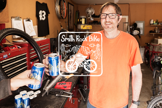 Bike builder Wade Beauchamp of Smith Rocket bike for Smith Rock State Park