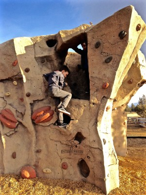 kids on climbing wall at The Bivy at Smith Rock State Park
