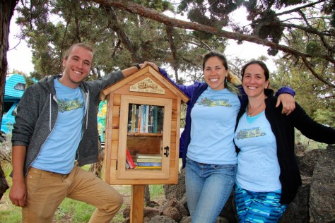 Becky and friends with the Little Free Library in the Bivy at Smith Rock State Park
