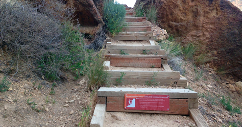 Smith Rock Needs Your Help Project sign on Misery Ridge Trail