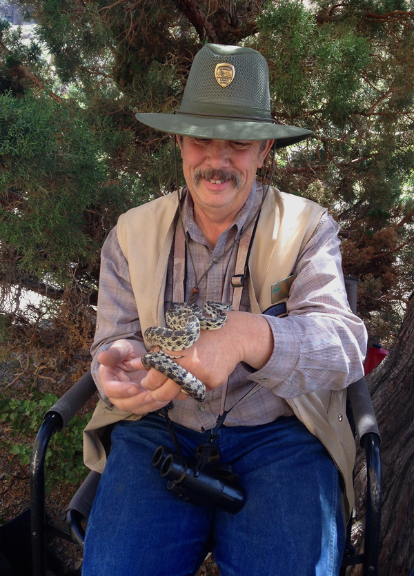 Steve Lay and his snake friend at Smith Rock State Park
