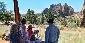 Plein Air Painters getting instruction at Smith Rock State Park