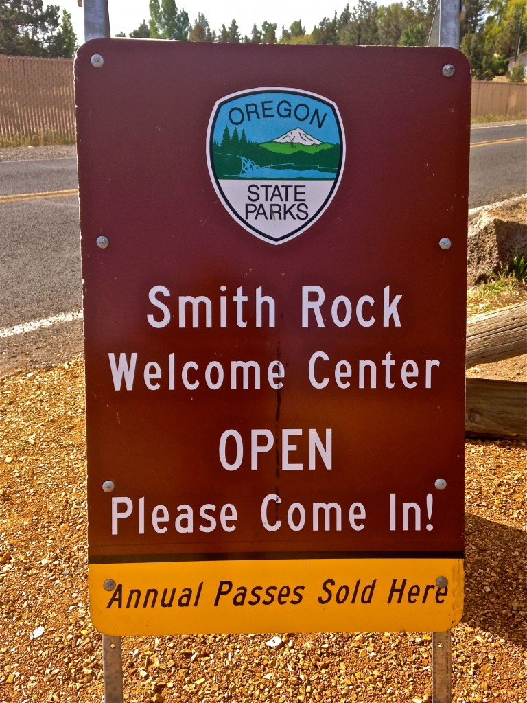 Smith Rock State Park Welcome Center Open Sign