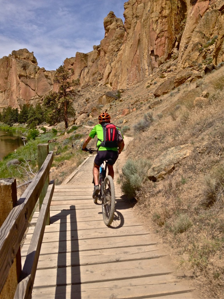 mountain biker on River Trail at Smith Rock State Park