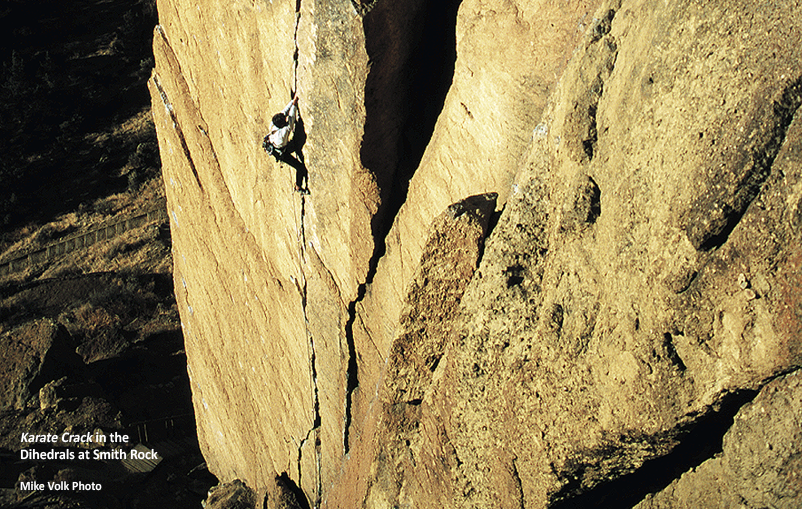 climber on Karate Crack in the Dihedrals at Smith Rock State Park
