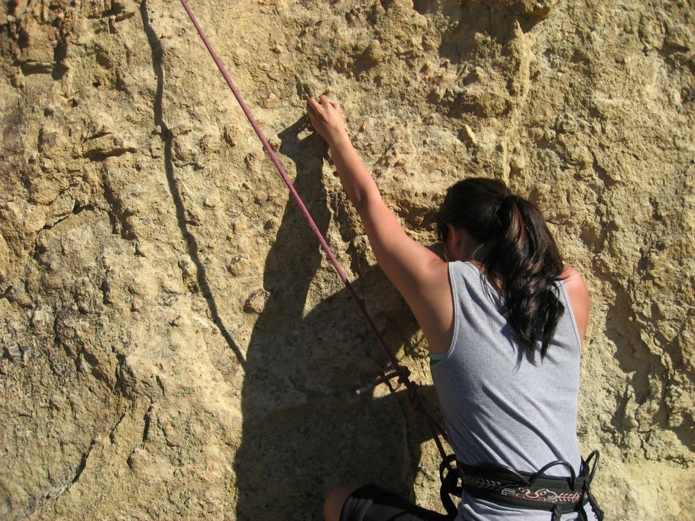 climber on Staender Ridge in the Monument Area at Smith Rock State Park
