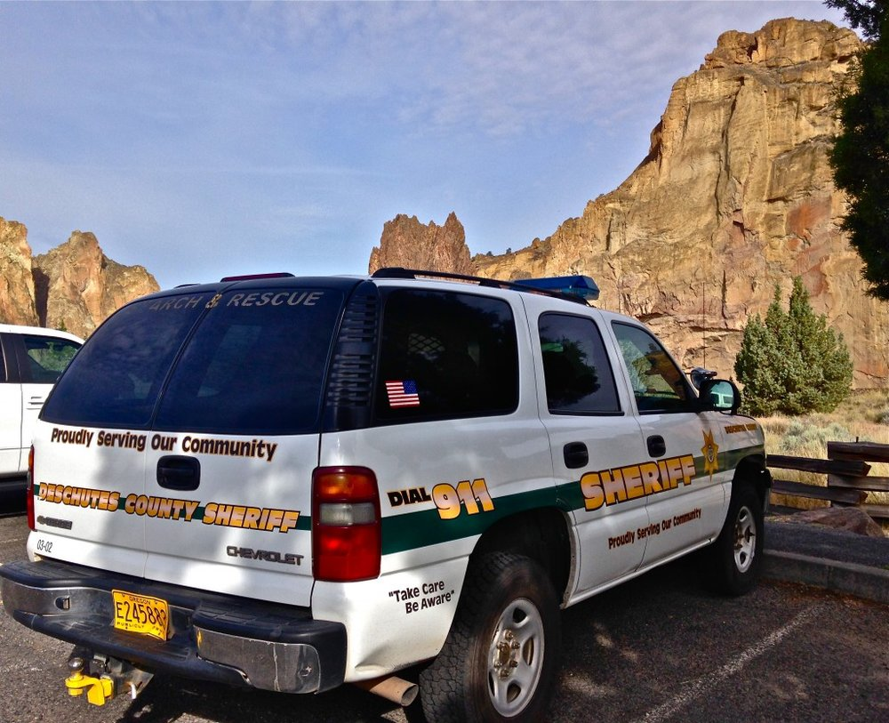 emergency services search and rescue vehicle at Smith Rock State Park