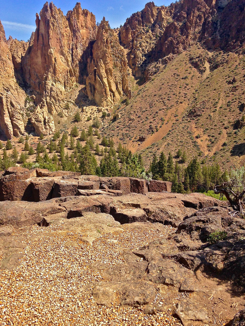 The basalt columns are loosely connected and steeply drop off into the river canyon below. KEEP PETS ON LEASH AND CHILDREN CLOSE.