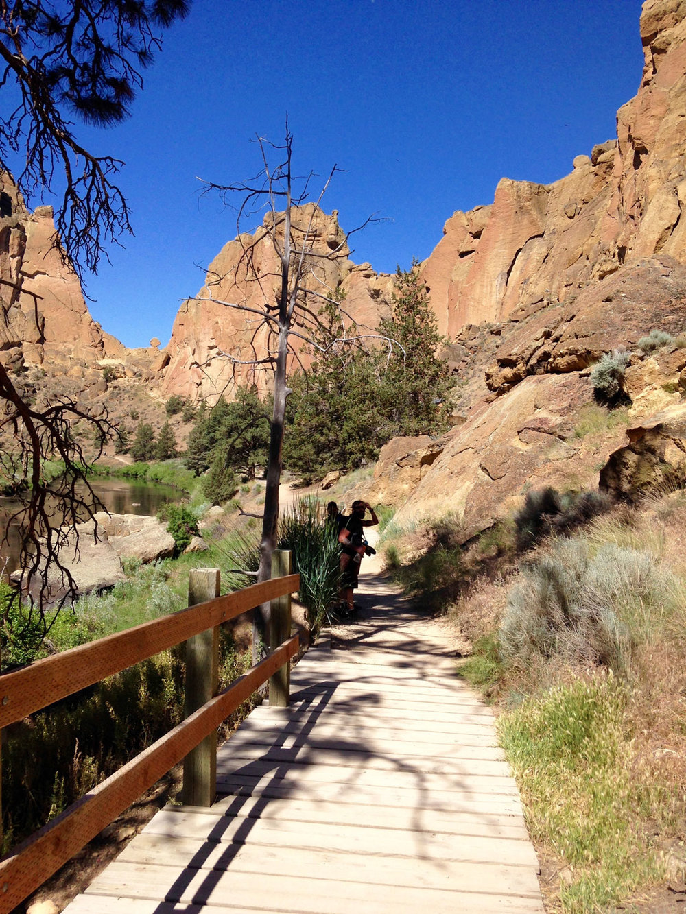 You'll cross over several wood bridges on the River Trail at Smith Rock State Park.