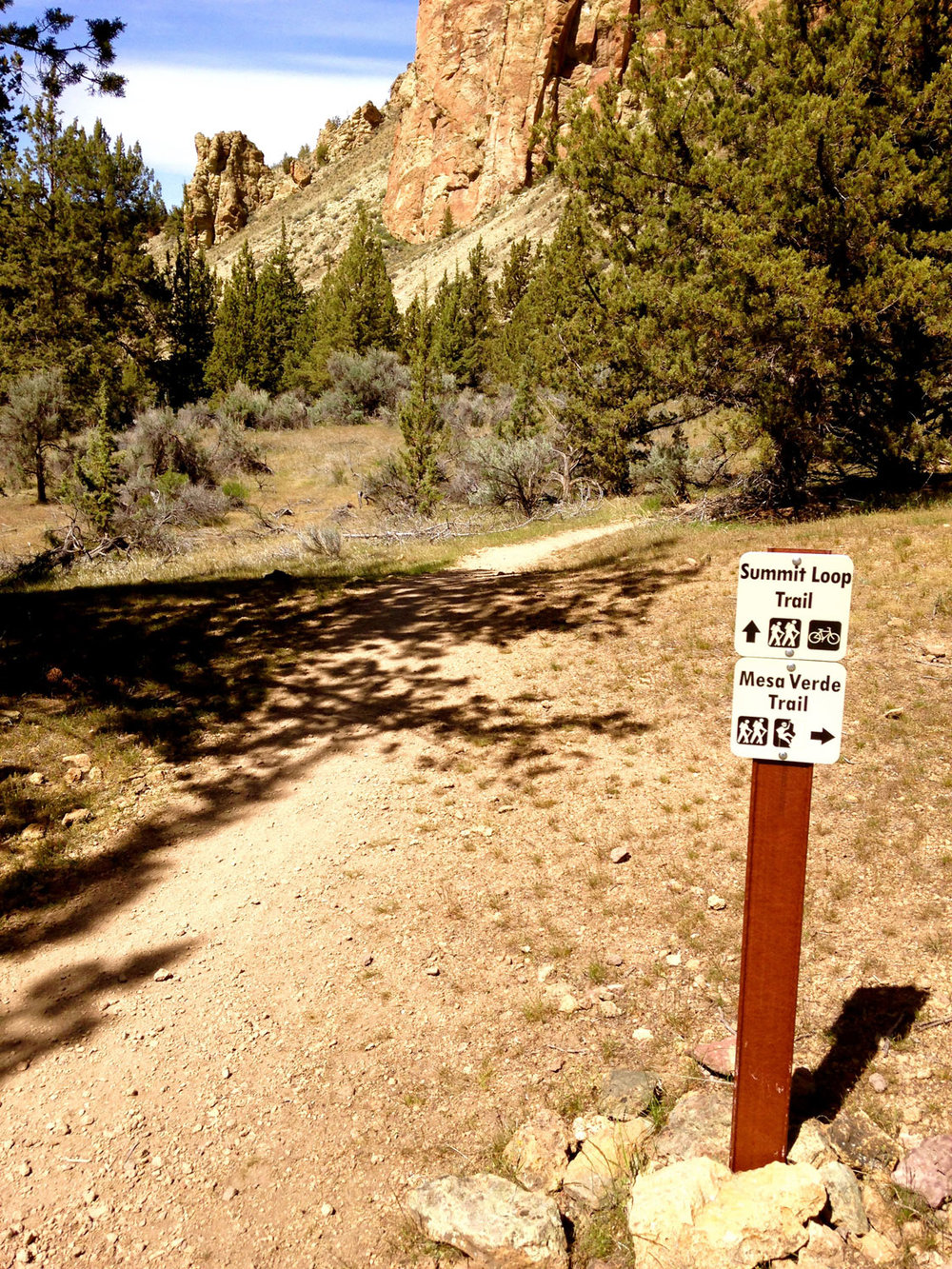 The Summit Trail starts at the junction of the River Trail and the Mesa Verde Trail at Smith Rock State Park.