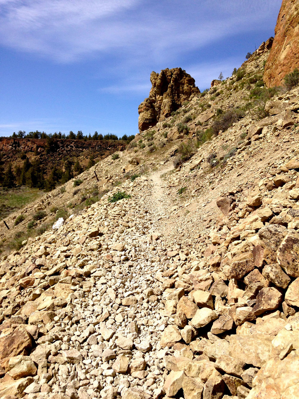 The Summit Trail has some scree sections you need to pay attention to at Smith Rock State Park.