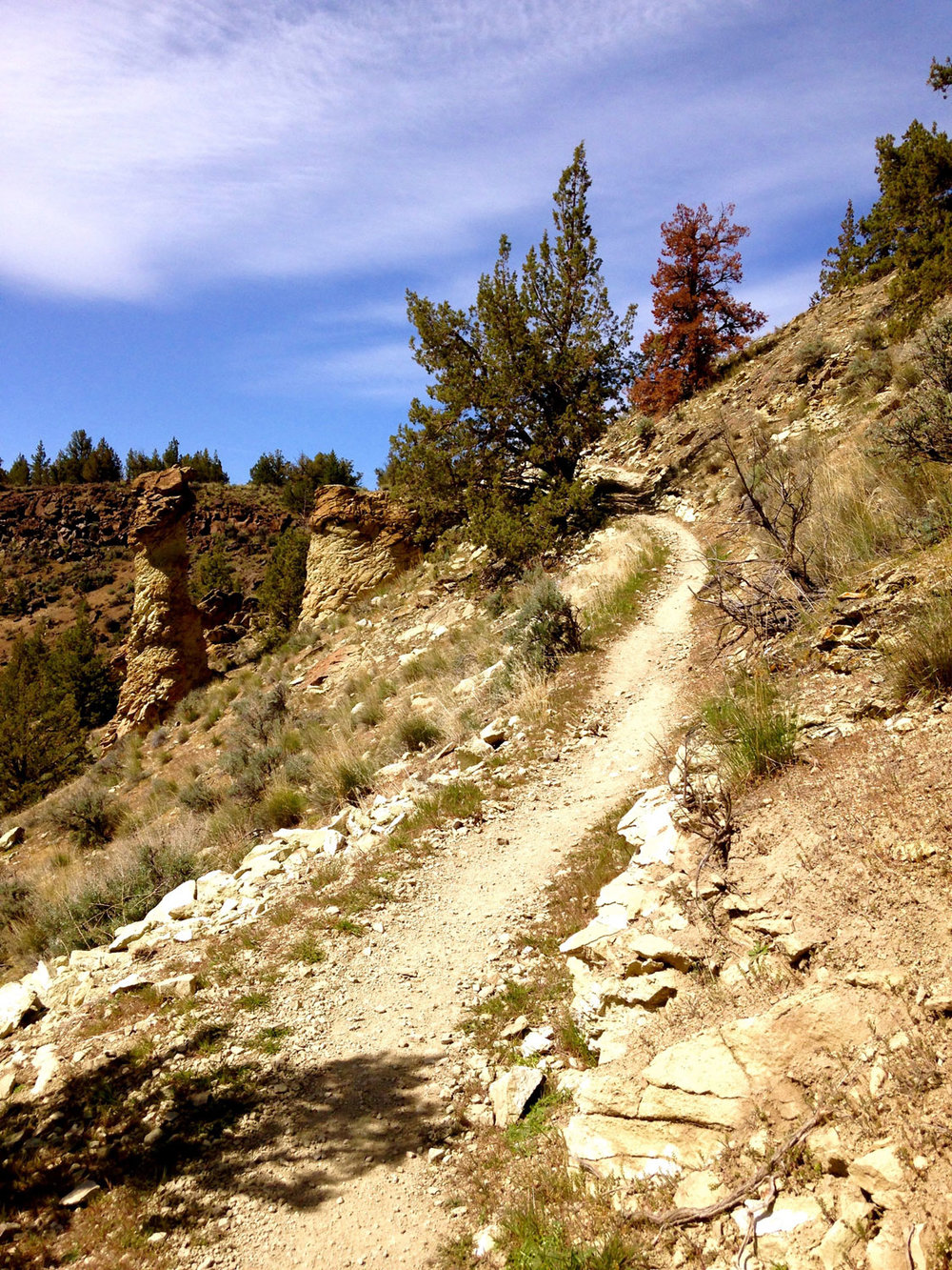 The Summit Trail at Smith Rock State Park gradually gains elevation.