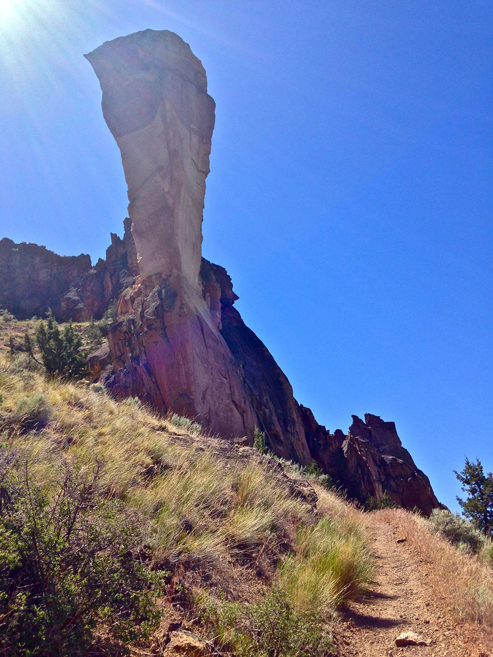 The Mesa Verde Trail continues to the base of the back side of Monkey Face at Smith Rock State Park.