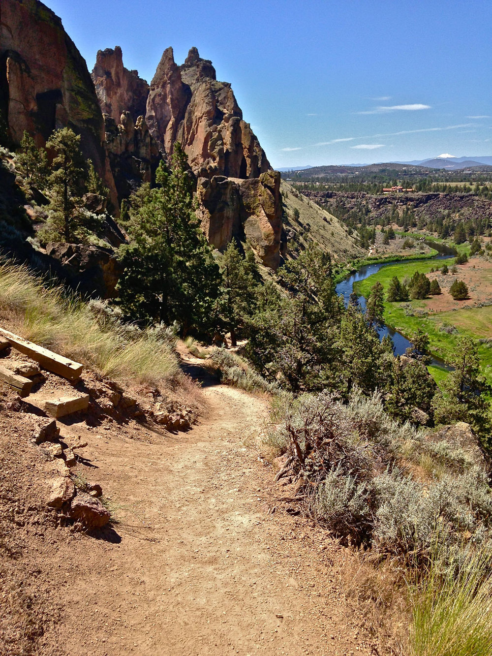 Follow the Mesa Verde Trail to the River Trail below at Smith Rock State Park.
