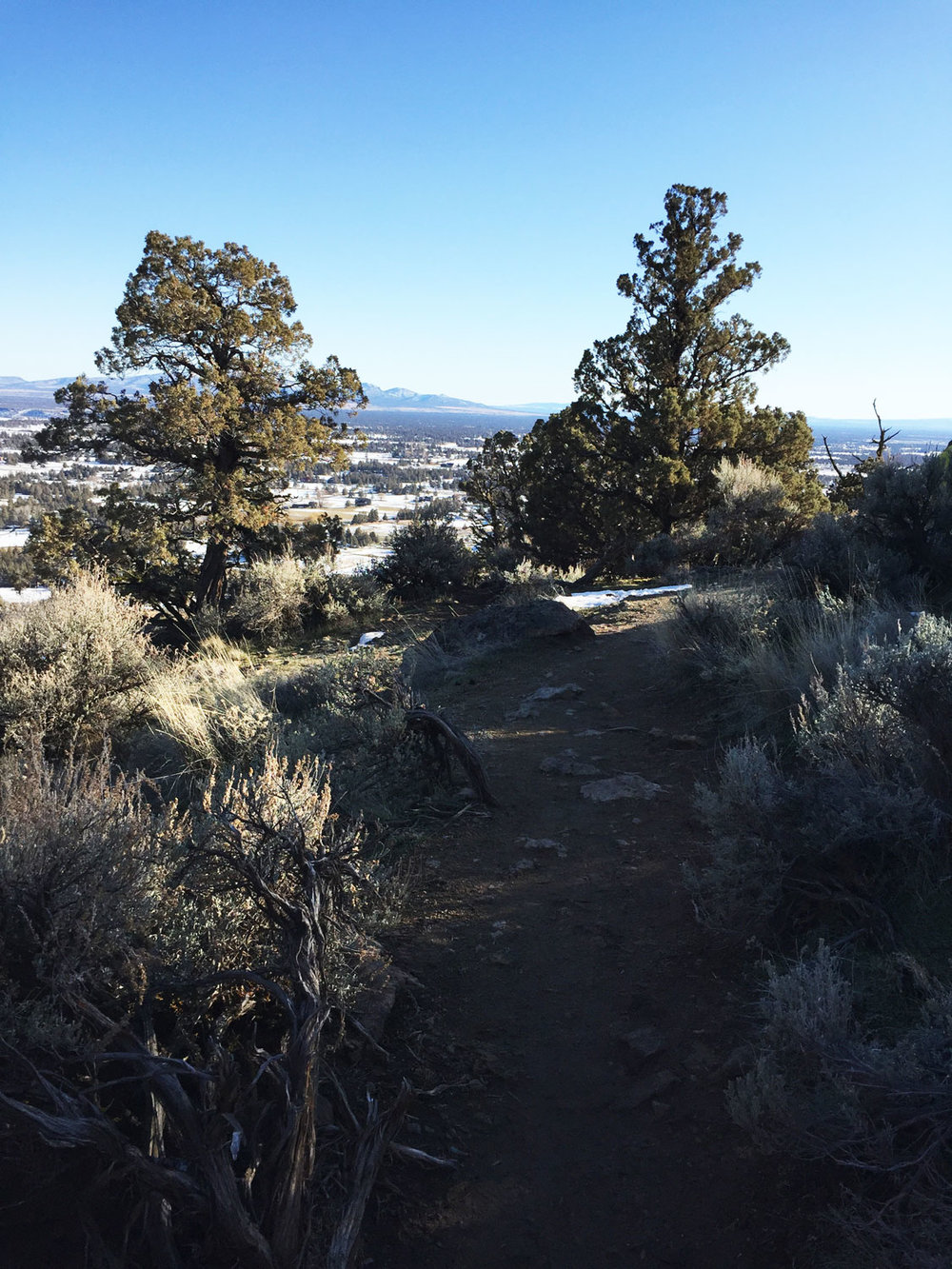 More views of the Crooked River and houses below along the Misery Ridge Trail at Smith Rock State Park.