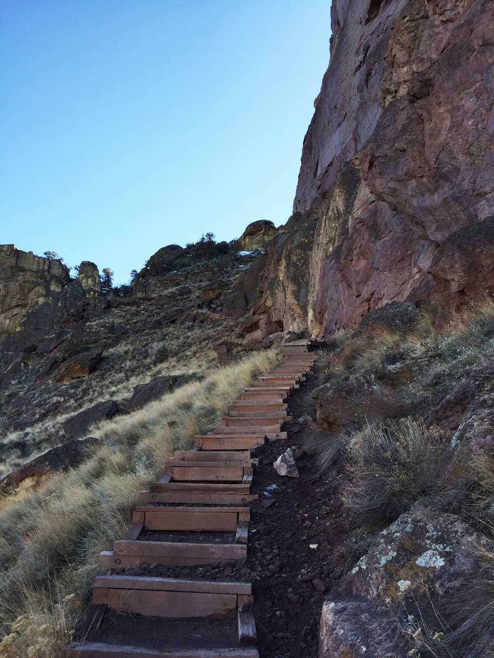 A long set of stairs has been added to the Misery Ridge Trail to recreate the path that was taken out by hikers cutting the trail at Smith Rock State Park.