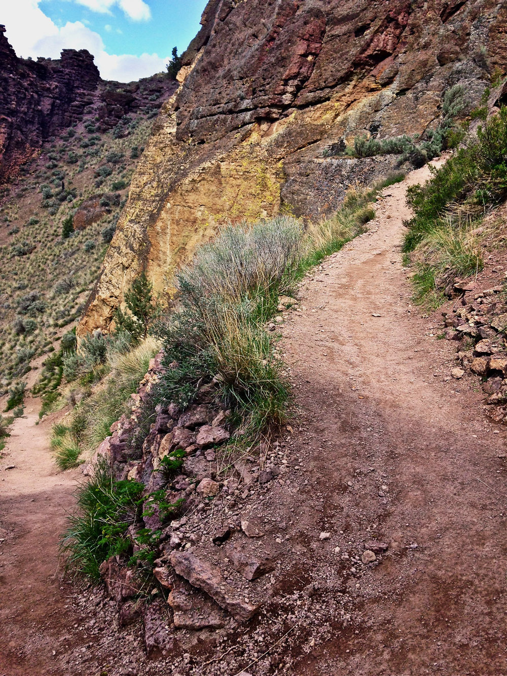 Be prepared for scree buildup on the switchback corners of the Misery Ridge Trail at Smith Rock State Park.