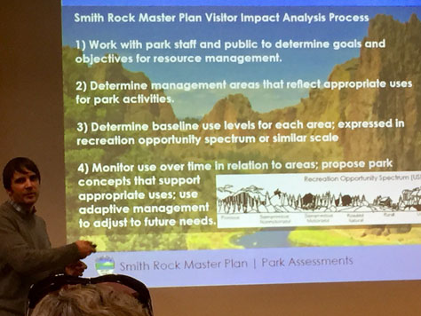 OPRD explaining the Smith Rock Master Plan Visitor Impact Analysis Process