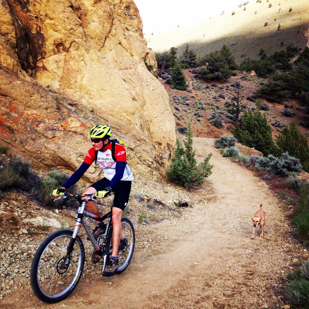 mountain biker on BLM section of Burma Road Trail connecting to Smith Rock State Park
