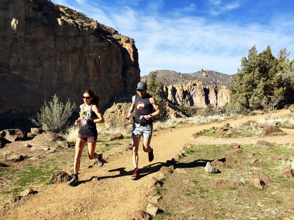 trail running on the Rim Rock Trail at Smith Rock State Park