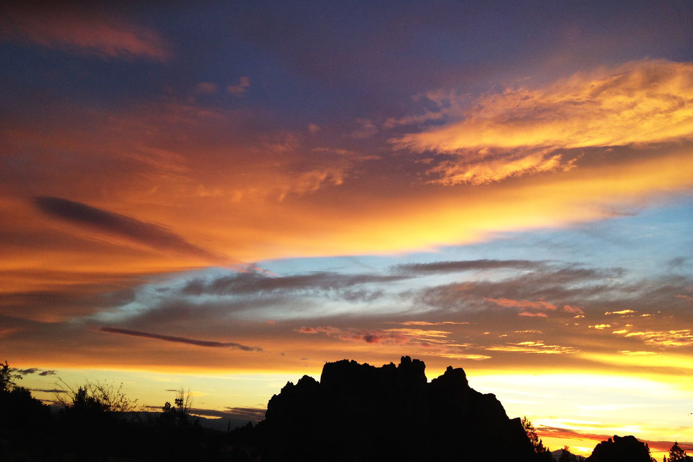 sunset drama over the Smith Rock Group