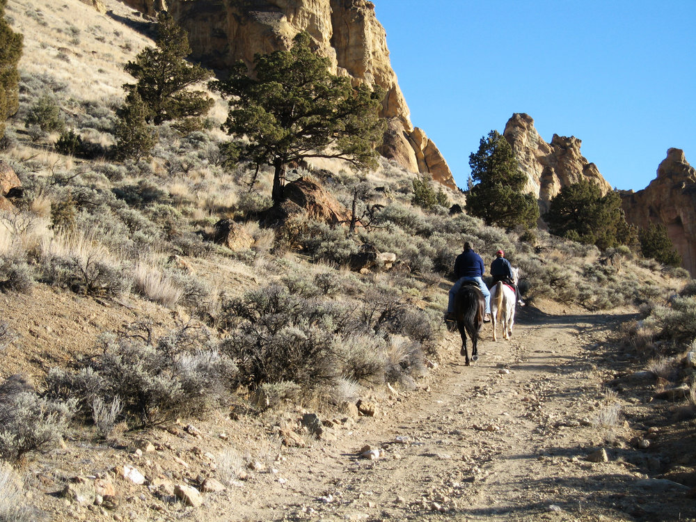 horseback riders on Burma Road just outside of Smith Rock State Park