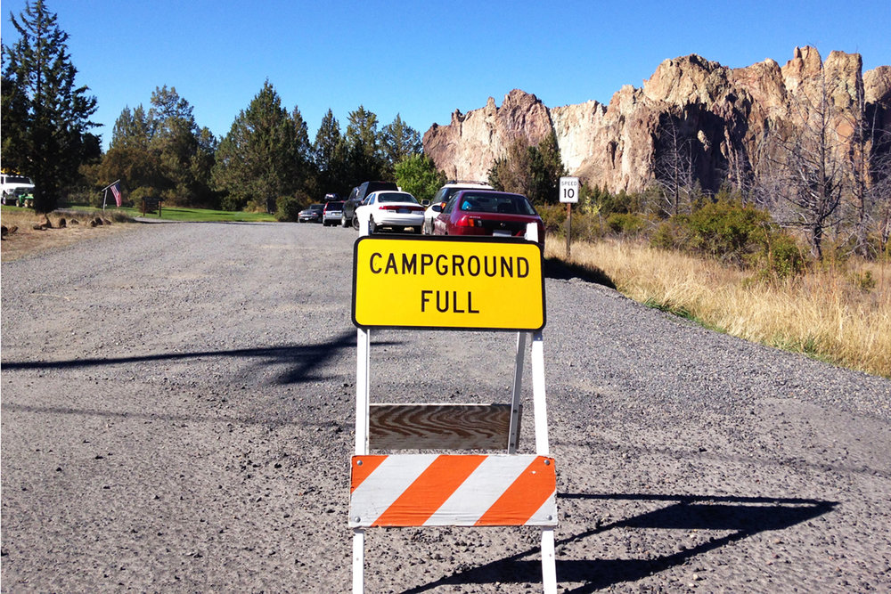 """Campground Full"" sign is the only indication that first-come first-served Bivy campground is full"