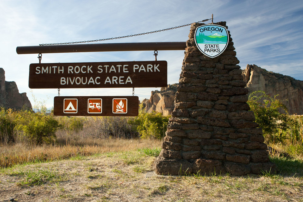 main sign to Bivouac Camping area at Smith Rock State Park