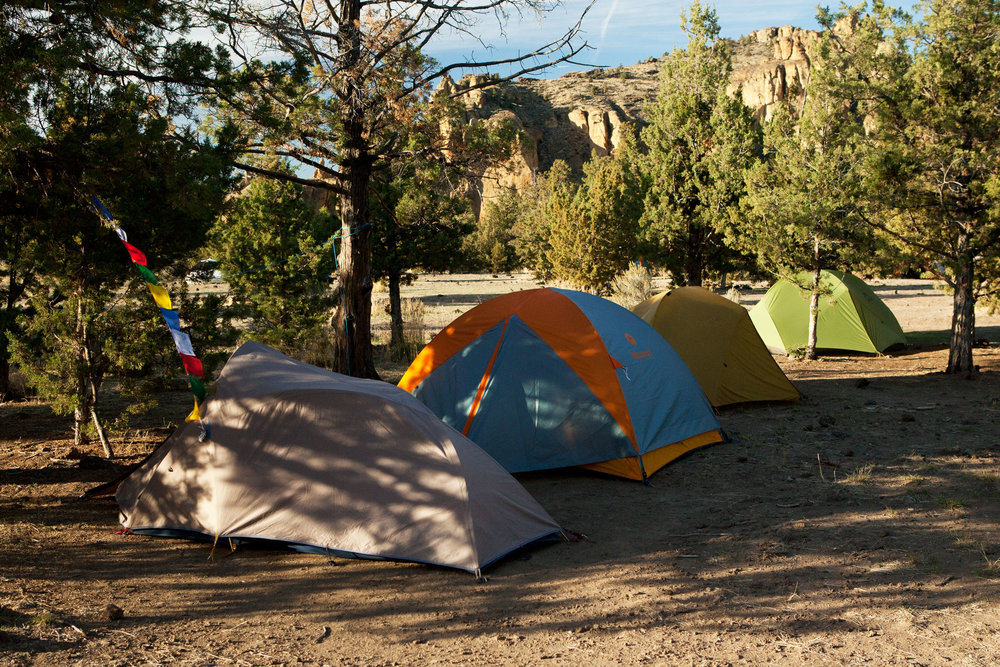tents within the designated camping area of the Bivy campground at Smith Rock State Park