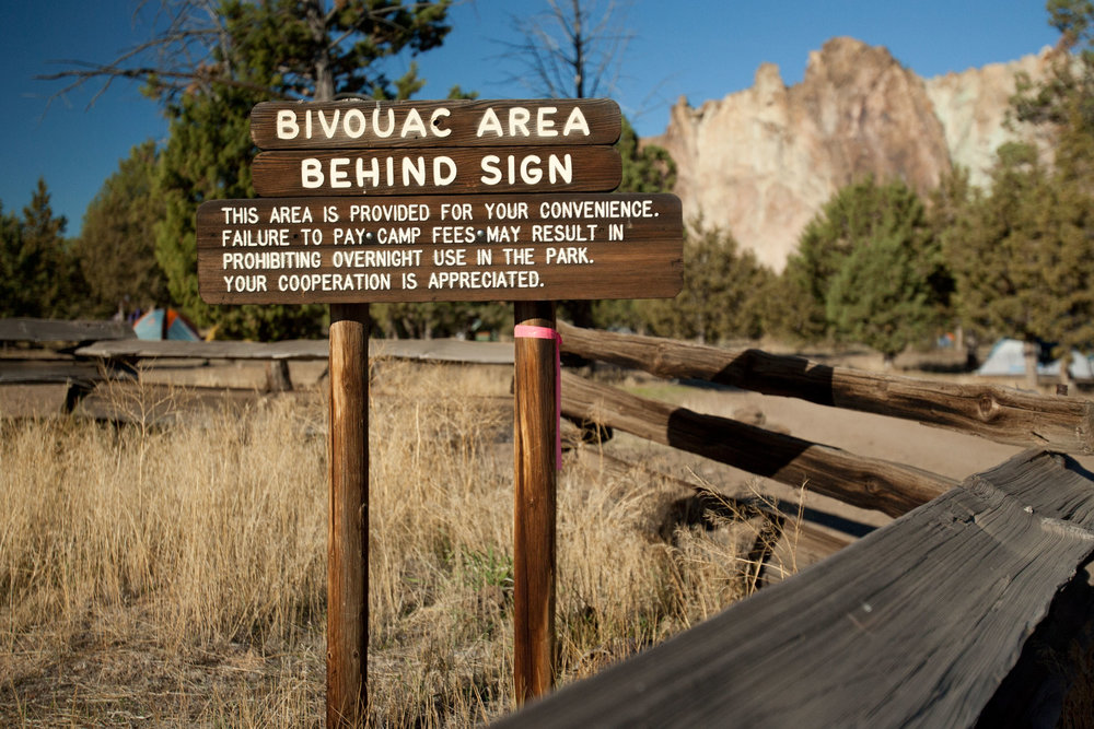 designated camping sign for the Bivy campground at Smith Rock State Park
