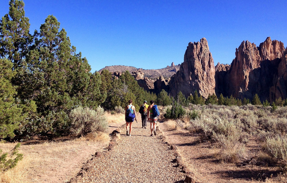 Climbers headed to the Northern Point at Smith Rock State Park from North Point Trail