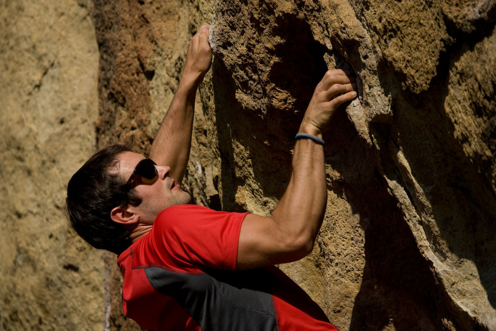 bouldering at the Bivy Wall at Smith Rock State Park