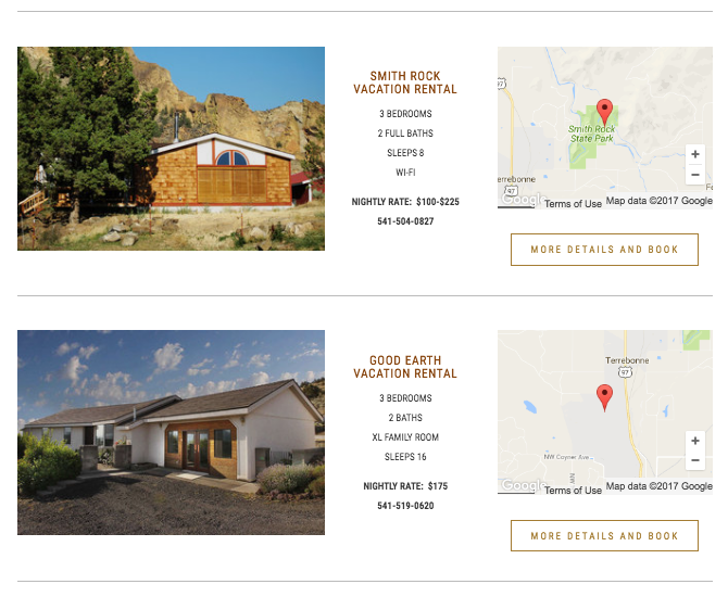 sample vacation rental listings are in proximity order to the Welcome Center at Smith Rock State Park