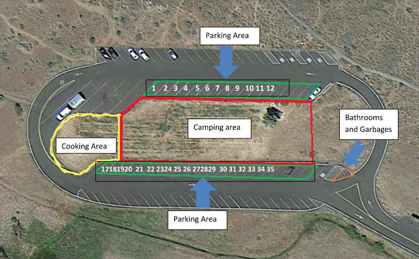 map of the reserved camping area