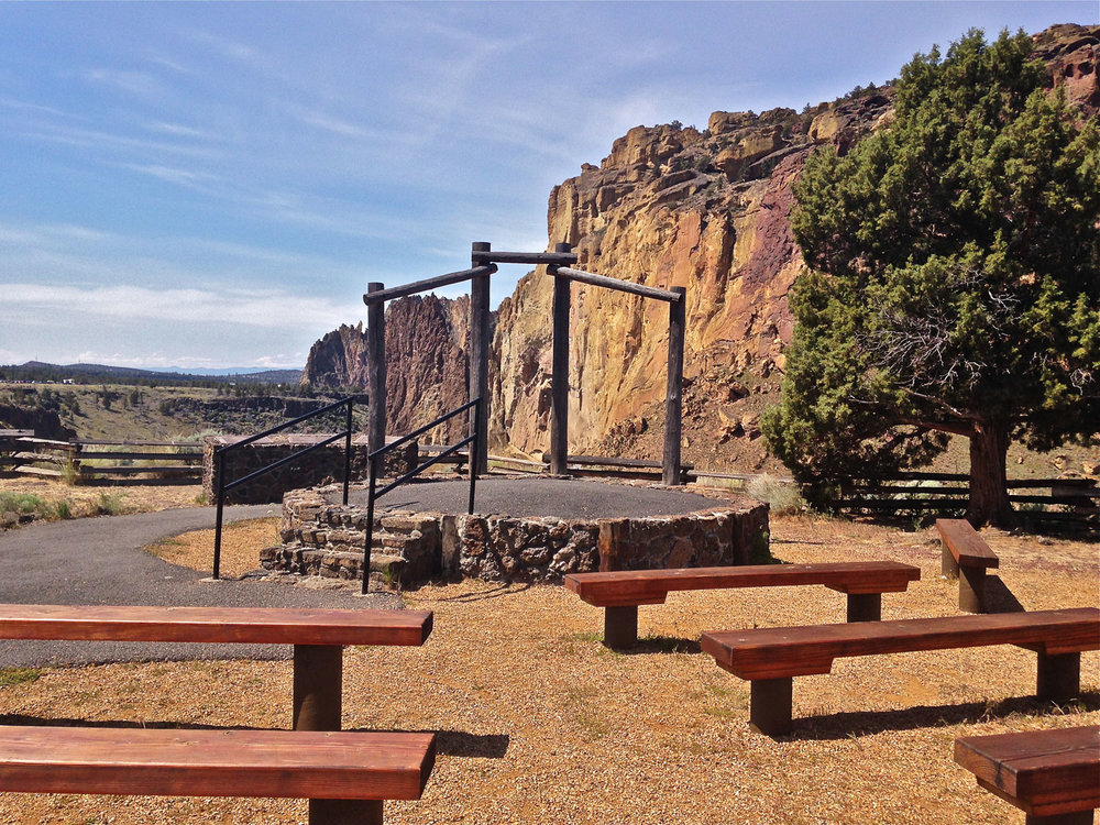 amphitheater at Smith Rock State Park near the Turnaround Fee Station at the Northern Point