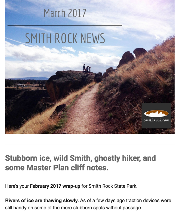 Sample Smith Rock News screenshot