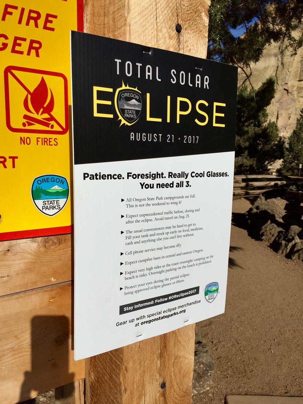 Total Solar Eclipse Sign at Smith Rock State Park