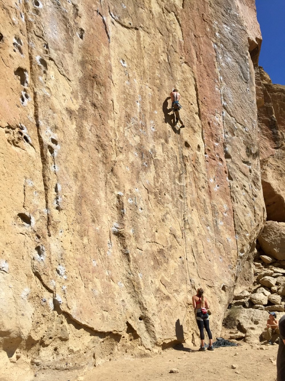 climbers on first day of Spring 2018 in the Dihedrals at Smith Rock State Park