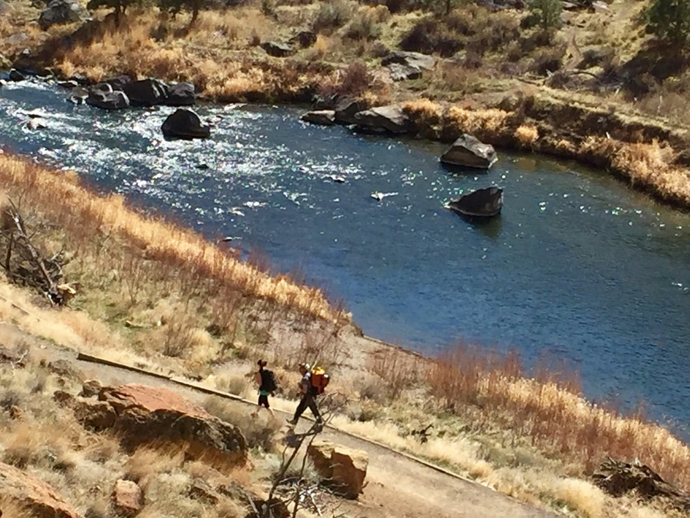 climbers hike the River Trail at Smith Rock State Park