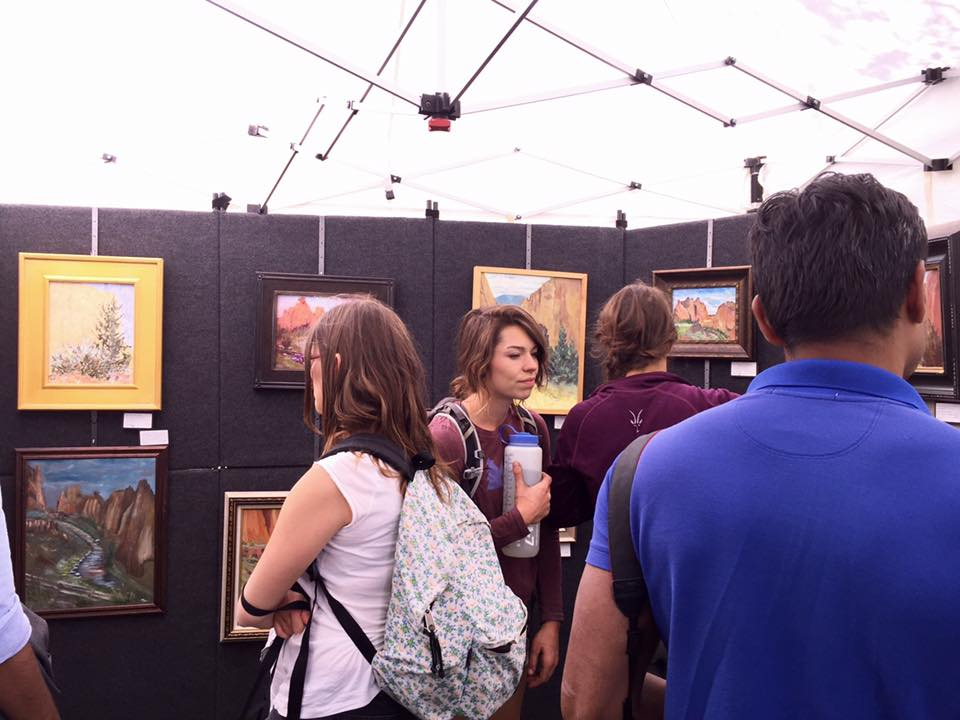 The judging tent where Smith Rock visitors can vote on their favorite painting of the day.