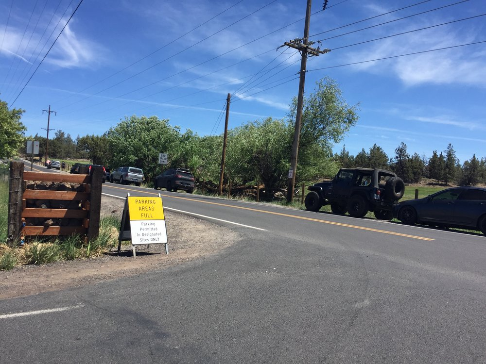 when the 450 parking spots at Smith Rock State Park are at saturation, parking spills over onto nearby Wilcox Ave.
