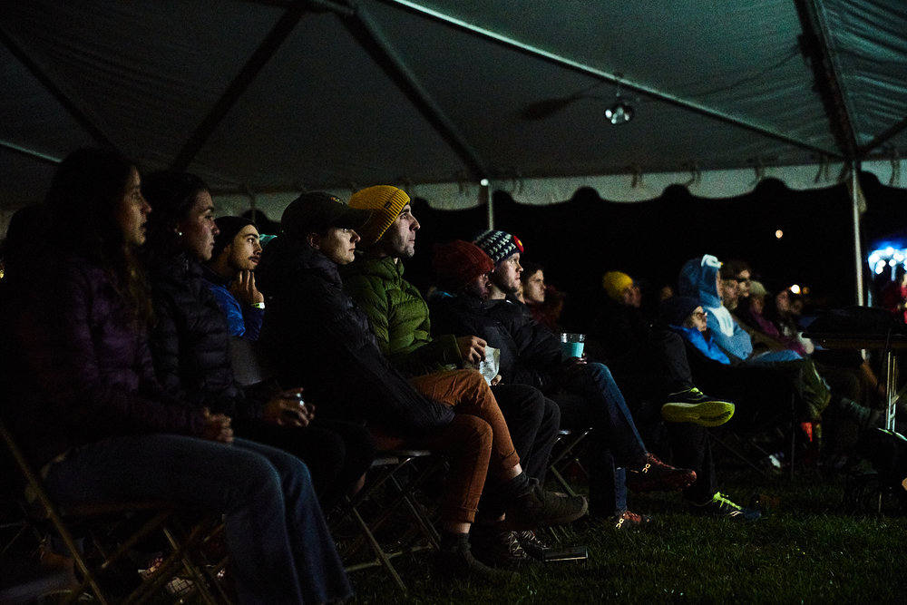 Watching shorts from the Adventure Film Fest at the 2018 Smith Rock Craggin' Classic.  photograph courtesy of Bryan Sillorequez