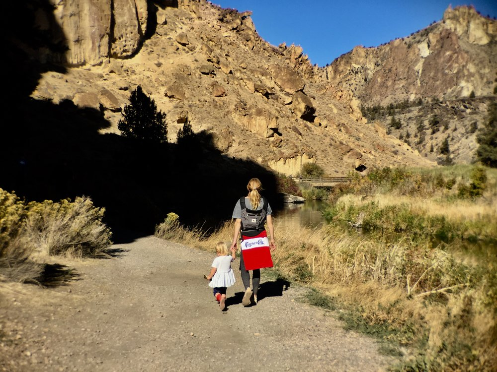 mother and daughter enjoy shirtsleeve weather on the  River Trail  at Smith Rock State Park