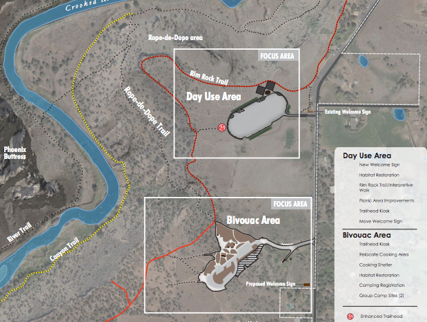 The Bivy/Campground (Bivouac) Area shown south of the Day Use (Bus/RV Lot) Area—click to enlarge