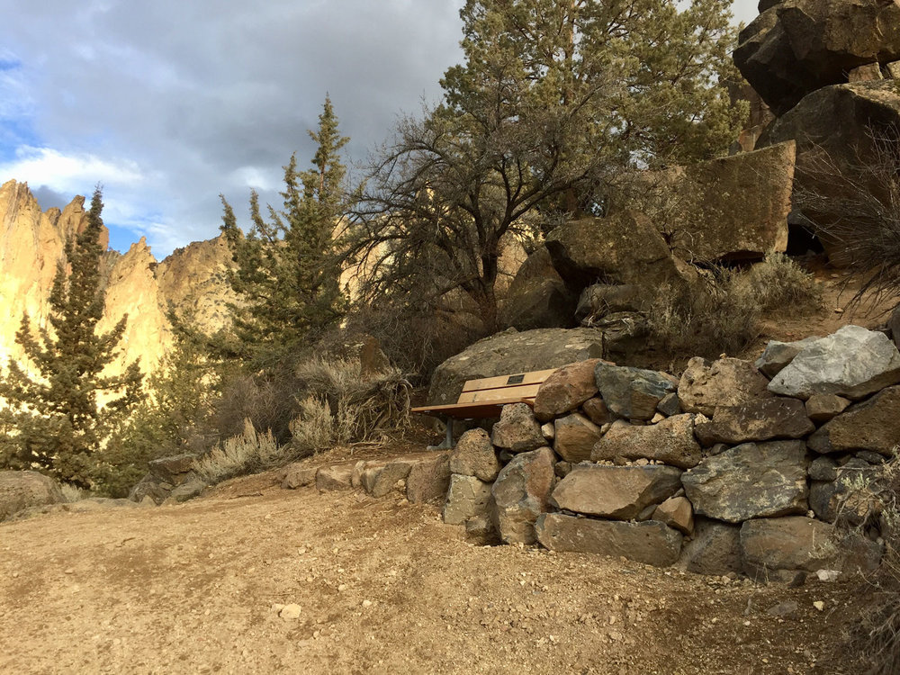 As you rise up the switchbacks, you come to a bench offering a viewpoint of the canyon below and the Monument Area to across the river.